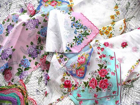 Antique handkerchiefs arranged