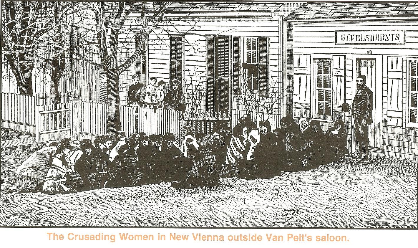 Illustration of woman crusading in New Vienna, Ohio