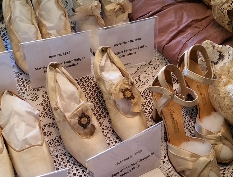antique pairs of wedding shoes