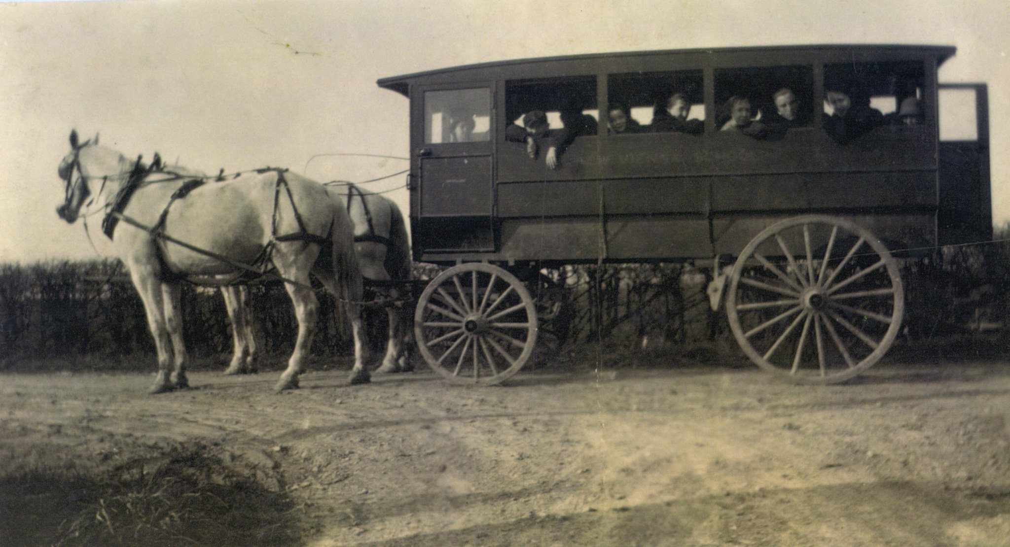 New Vienna School wagon taken by 8 year old Josephine Williams about 1918, with her brownie box camera.