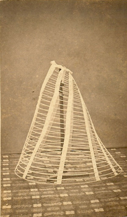 Display of hoop supports for antique dress